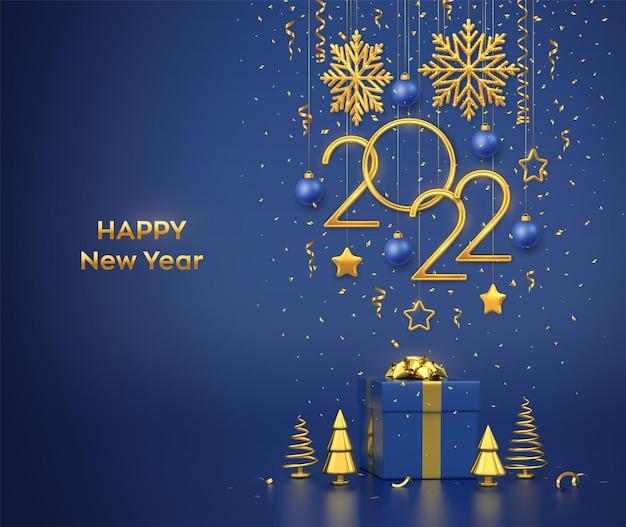 ハッピーニュー2022年。青い背景に雪片、星、ボールで金色の金属番号2022をぶら下げます。ギフトボックスと金色の金属製の松またはモミ、円錐形のトウヒの木。ベクトルイラスト。