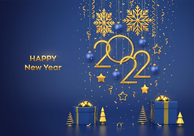 Happy new 2022 year. hanging golden metallic numbers 2022 with snowflakes, stars and balls on blue background. gift boxes and golden metallic pine or fir, cone shape spruce trees. vector illustration.