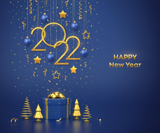 Happy new 2022 year. hanging golden metallic numbers 2022 with stars, balls and confetti on blue background. gift box and golden metallic pine or fir, cone shape spruce trees. vector illustration.