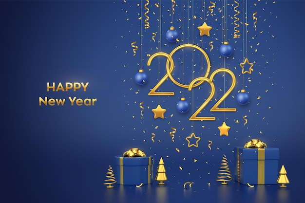 Happy new 2022 year. hanging golden metallic numbers 2022 with stars, balls and confetti on blue background. gift boxes and golden metallic pine or fir, cone shape spruce trees. vector illustration.