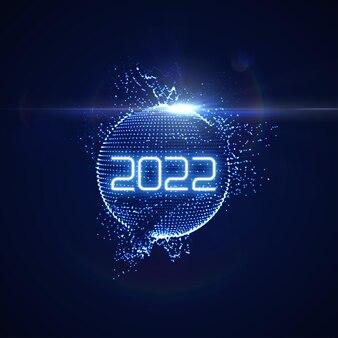 未来的な輝くネオン光球とバースト光線で幸せな新しい2022年の休日のサイン