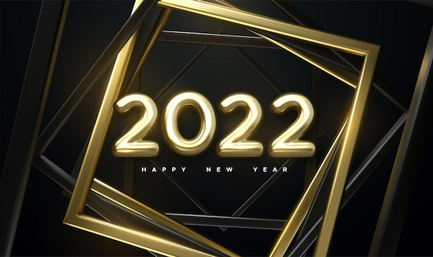 Happy new 2022 year holiday sign with golden 2022 numbers and twisted frames