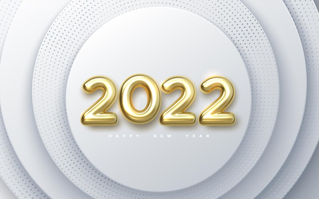 Happy new 2022 year holiday sign with golden 2022 numbers on white paper cut background
