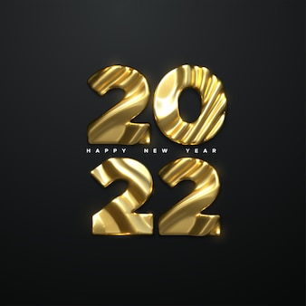 Happy new 2022 year holiday sign with golden 2022 numbers