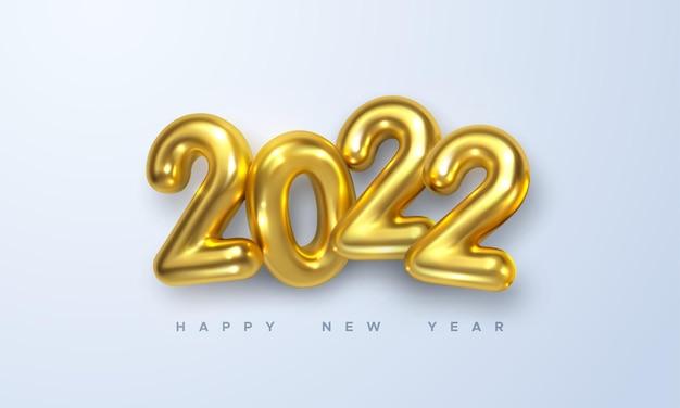 С новым 2022 годом праздничный знак с золотыми 3d числами