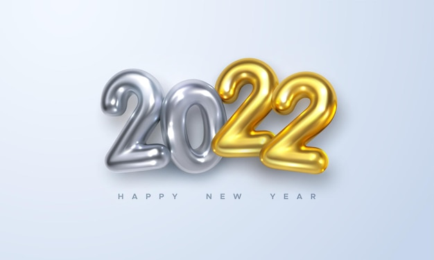 Happy new 2022 year holiday sign with golden and silver 3d numbers