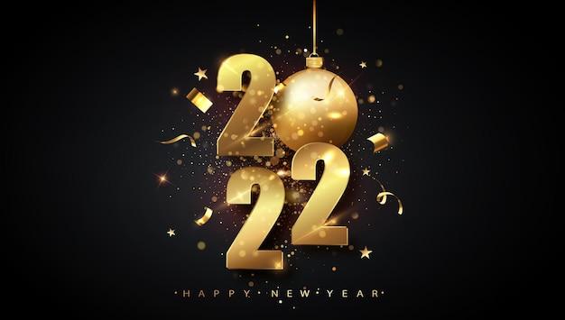 Felice anno nuovo 2022. illustrazione vettoriale di vacanza di numeri metallici dorati 2022. numeri d'oro progettazione di biglietto di auguri di caduta shiny confetti. poster di capodanno e natale.