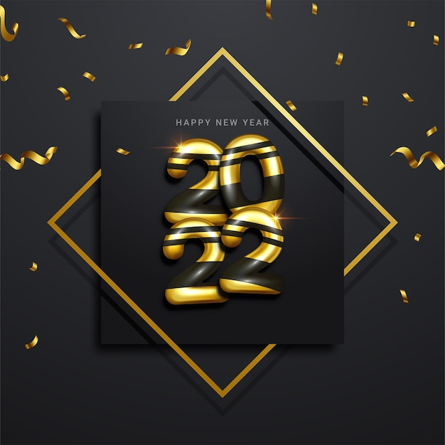 Happy new 2022 year. holiday vector illustration of golden metallic numbers 2022