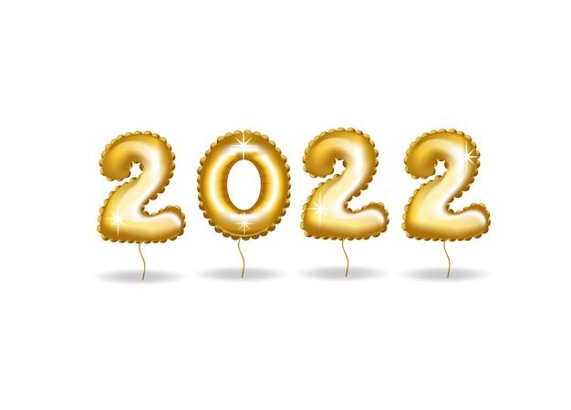 ハッピーニュー2022年。黄金の数字の休日ベクトルイラスト。