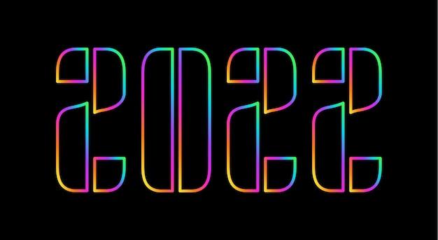 С новым 2022 годом. голографическое число 2022, голограмма жирная. новый год и рождество дизайн календаря, поздравительных открыток или печати. поздравительная открытка, праздничный плакат и баннер. векторная иллюстрация