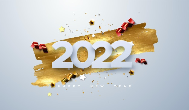 Happy new 2022 year paper cut numbers with sparkling confetti particles golden stars and streamers