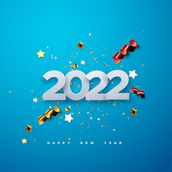Happy new 2022 year paper cut numbers with sparkling confetti particles and streamers on blue