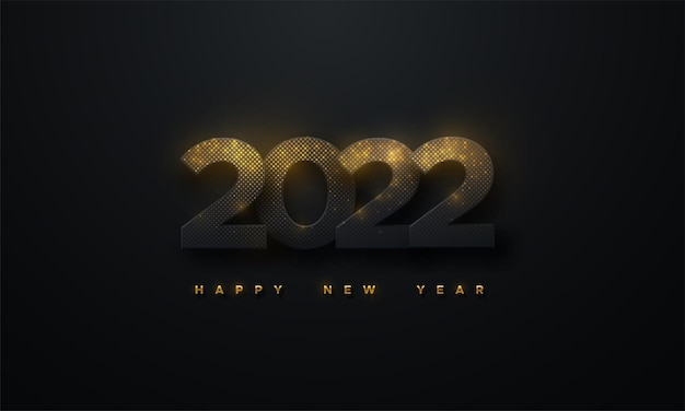 Happy new 2022 year sign of black paper 2022 numbers textured with glittering golden particles