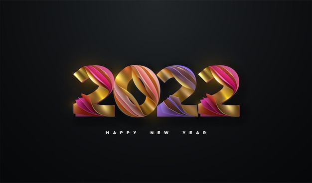 Happy new 2022 year sign of colorful layered paper numbers isolated on black background