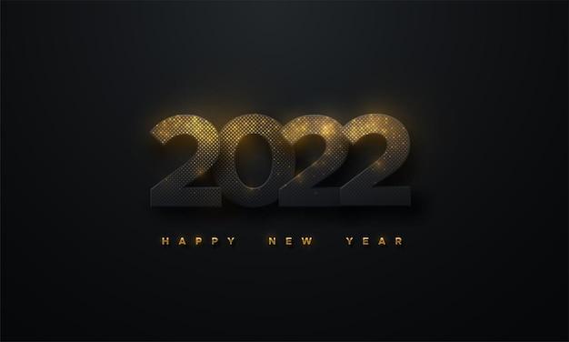 С новым 2022 годом знак из черной бумаги с цифрами 2022, текстурированными сверкающими золотыми частицами