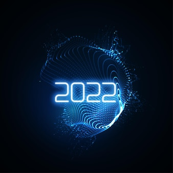 Happy new 2022 year sign with futuristic glowing neon light shape and bursting light rays