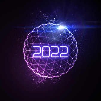 Happy new 2022 year sign with futuristic glowing neon light sphere and bursting light rays