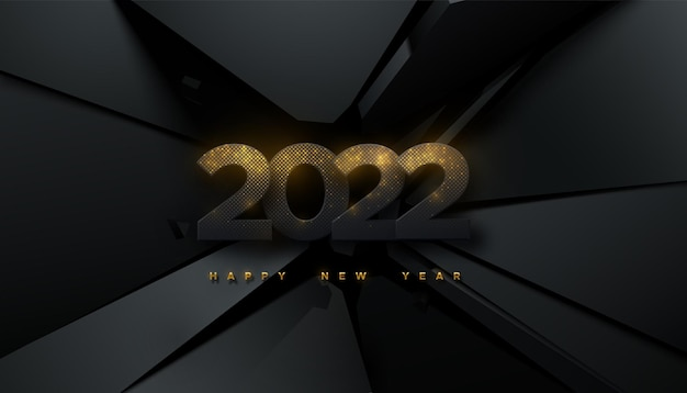 Happy new 2022 year sign with glittering paper numbers 2022 on black fractured background