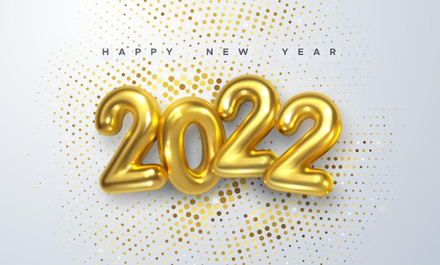 Happy new 2022 year sign with golden 3d 2022 number