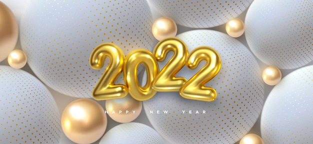 Happy new 2022 year sign with golden and white balls