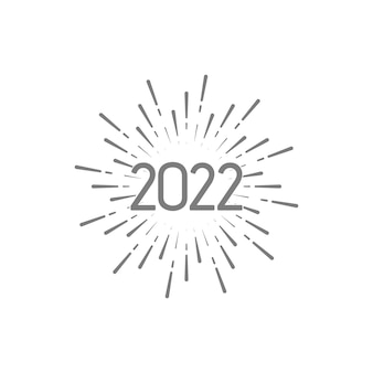 Happy new 2022 year vintage label with bursting firework lines