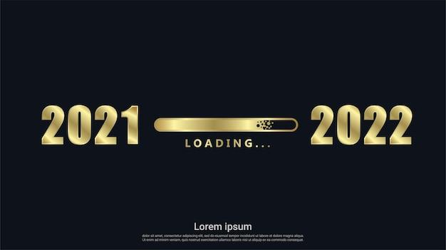 골드 로딩 배경으로 새해 복 많이 받으세요 2022년