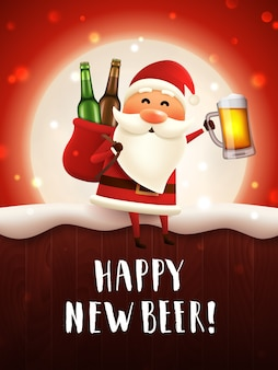 Happy new beer greeting card with santa holding craft beer mug and a sack with beer bottles.