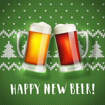 Happy new beer mugs poster on a christmas sweater