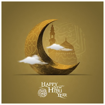 Happy new hijri year greeting background with moon and mosque