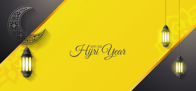 Happy new hijri year greeting design with moon and lanterns