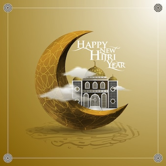 Happy new hijri year greeting mosque and moon