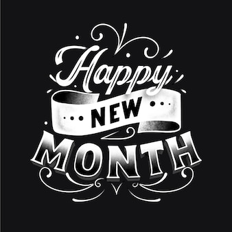 Happy new month greeting with drawn elements