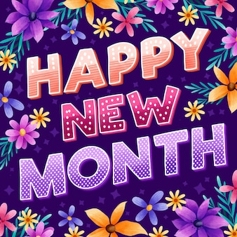 Happy new month greeting with watercolor elements