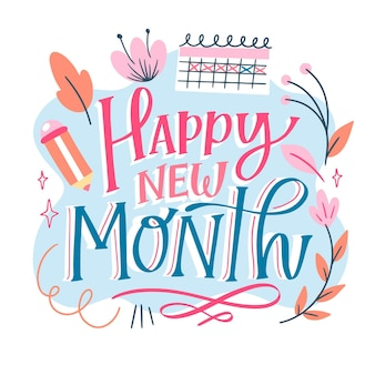 Happy new month lettering with different elements