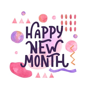 'happy new month' lettering with hand drawn elements
