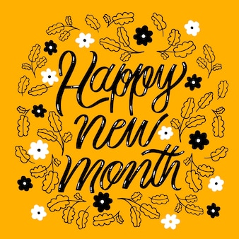 Happy new month lettering with hand drawn elements