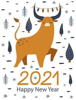 Happy new yea 2021 card with cute bull.