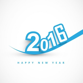 Happy new year 2016 text in color blue