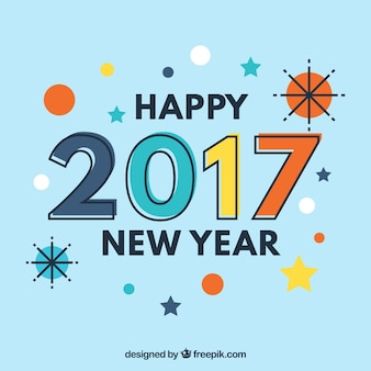 Happy new year 2017 background with memphis style