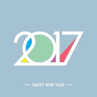 Happy new year 2017 colored typography