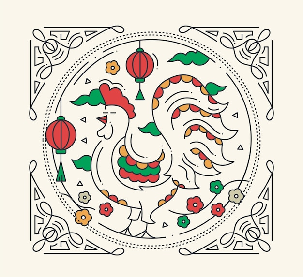 Happy new year 2017 - vector modern line design illustration with a year symbol - rooster Premium Vector
