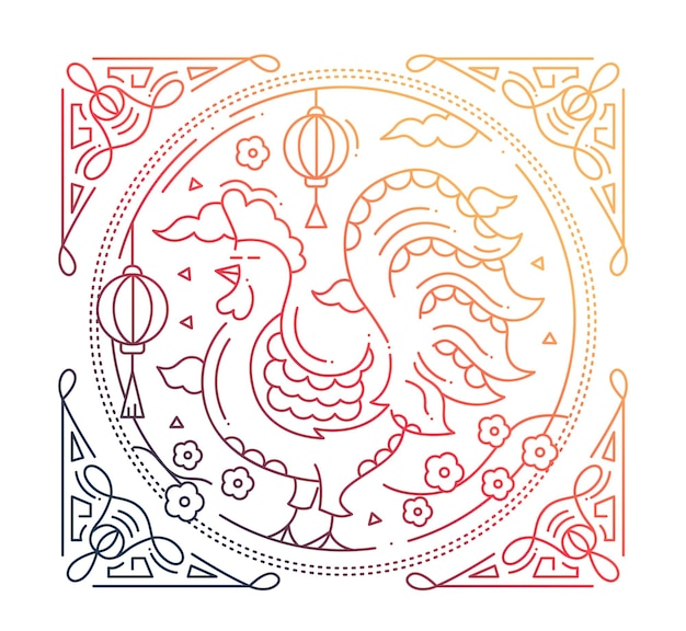 Happy new year 2017 - vector modern simple line design illustration with a year symbol - rooster. color gradient