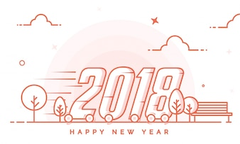 Happy New Year 2018 background in lineart style.