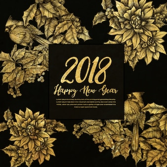Happy New Year 2018 Golden Background with Hatching Style