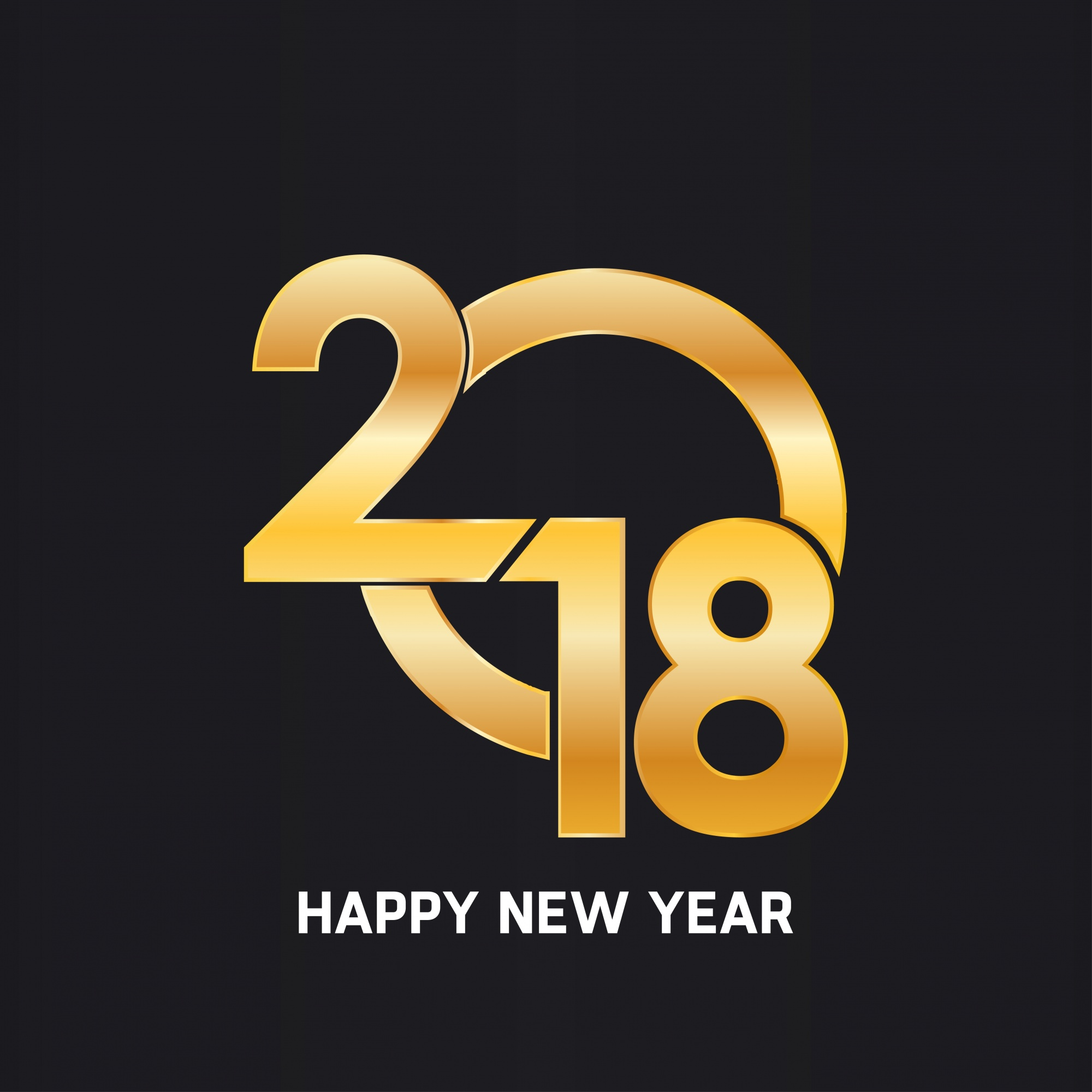 Happy new year 2018 golden text design