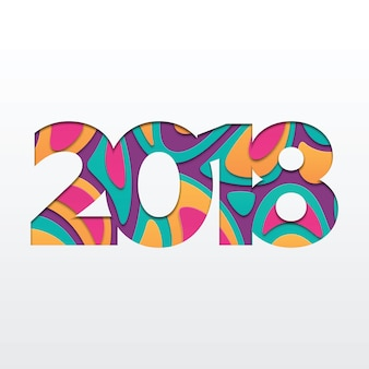 Happy new year 2018 greeting card paper cut shapes