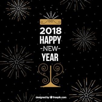 불꽃 놀이 함께 검은 새해 복 많이 받으세요 2018