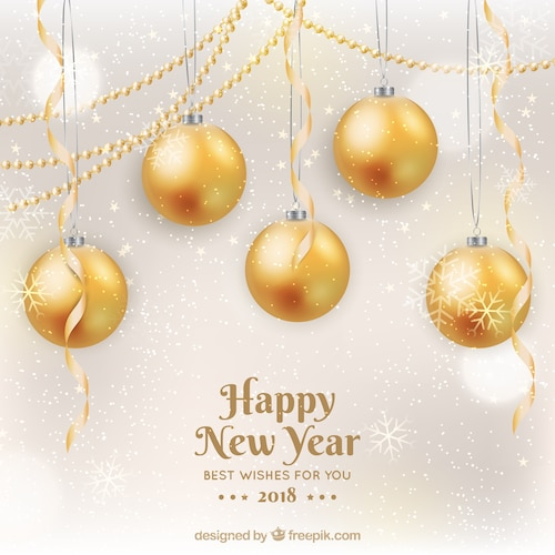 Happy new year 2018 in golden with baubles
