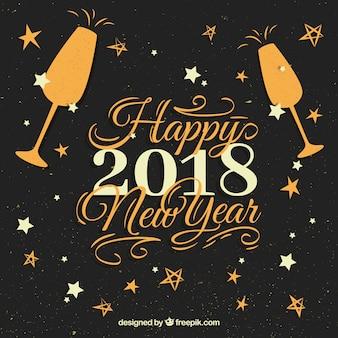 2018年の新鮮な筆記体での新年の幸せ