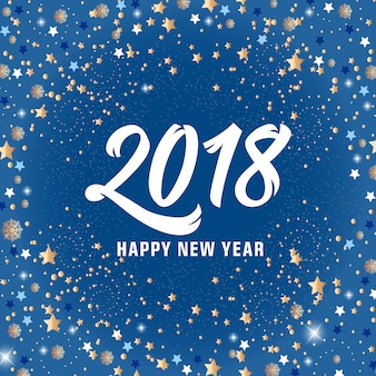 Happy New Year 2018 Lettering and Stars
